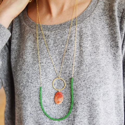 Sweet Clementine & Basil Beachglass Necklace