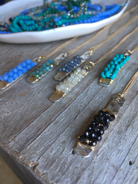 Gemstone Mixed Metal Bar Necklace
