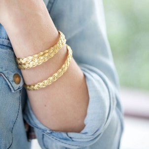 Gold (or silver) Braided Wrap Bracelet