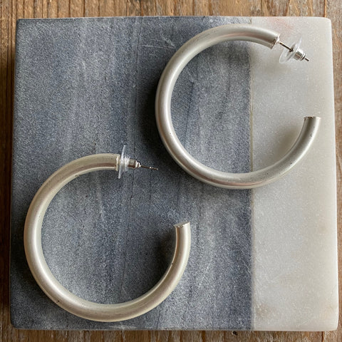 Large Hollow Silver Hoops