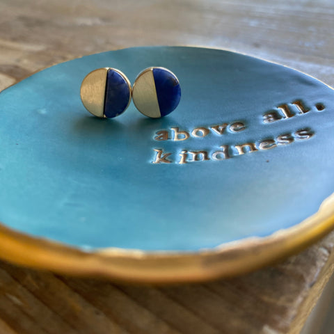 Indigo and Gold Half Moon Studs