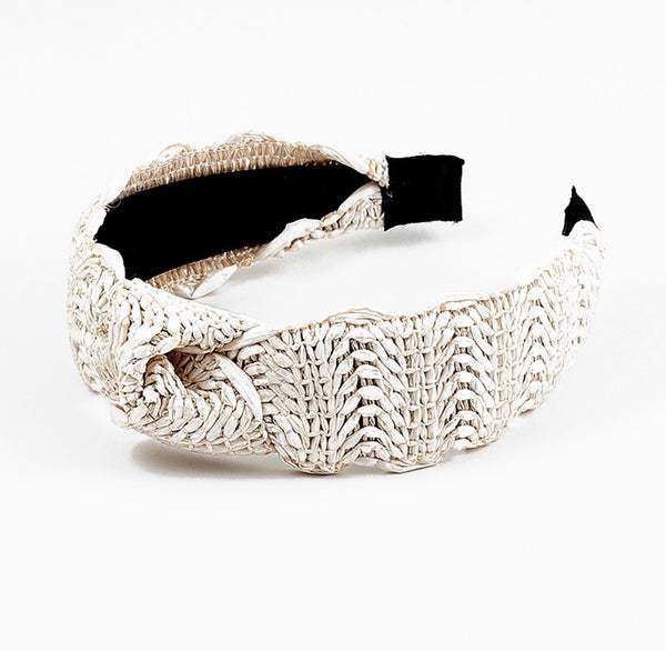 Cream Raffia Headband
