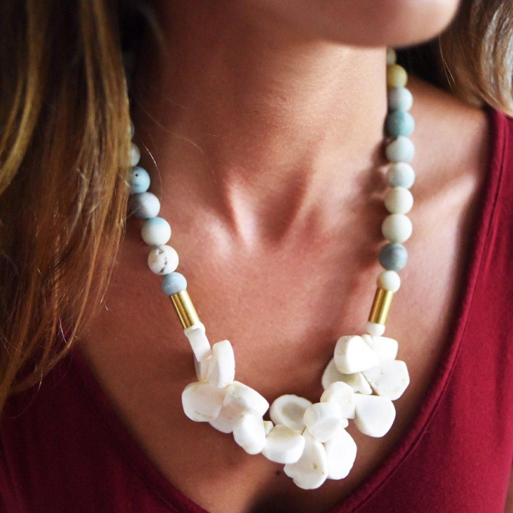 White Coral and Stone Necklace
