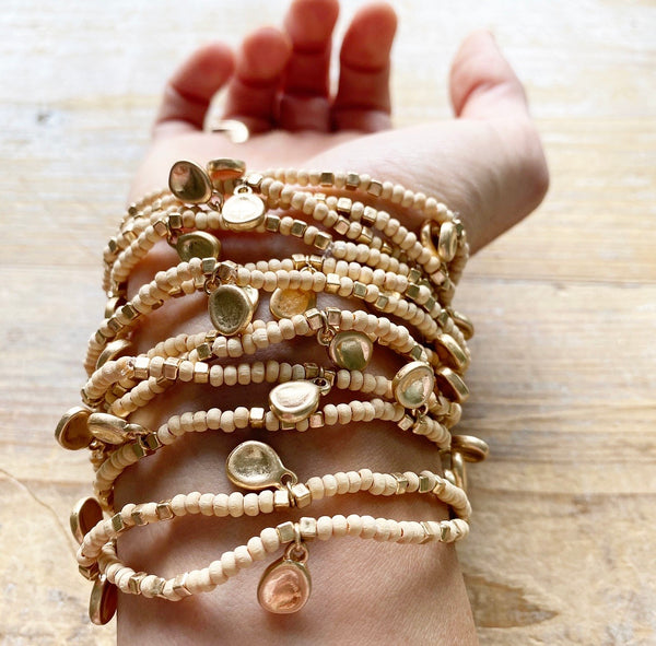 Raw Coconut Wood and Gold Disc Stack