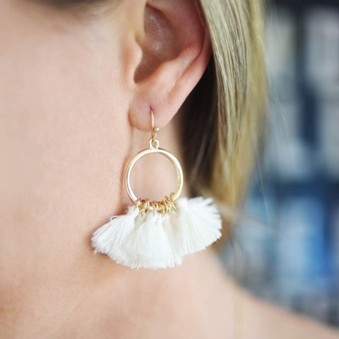 White Pacific Waves Tassel Earrings