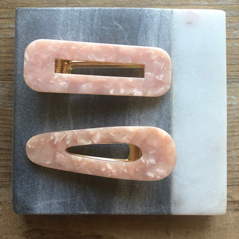 Blush Resin Hair clips (set of 2)