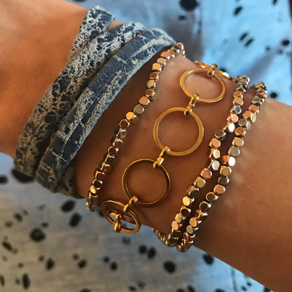 Mixed Metal Nugget Bracelets