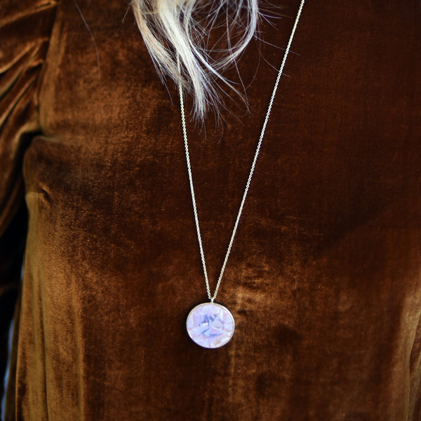 Blush Resin Disc Necklace