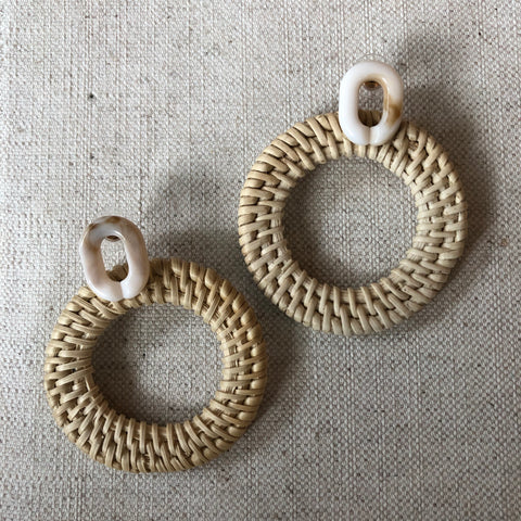 Wicker Woven Circle Earrings