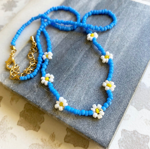 Blue Necklace with Yellow Daisies