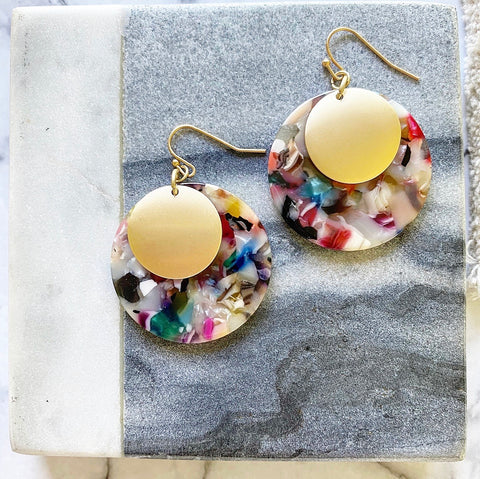 Colorburst & Gold Disc Earrings
