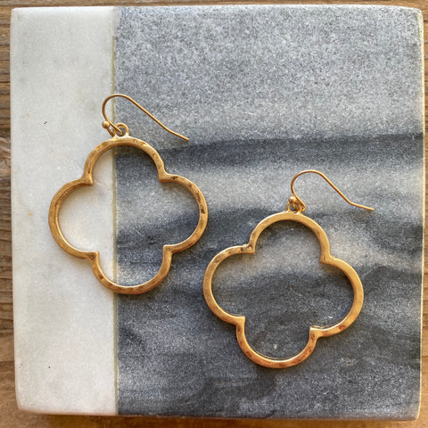 Clover Hammered Earrings