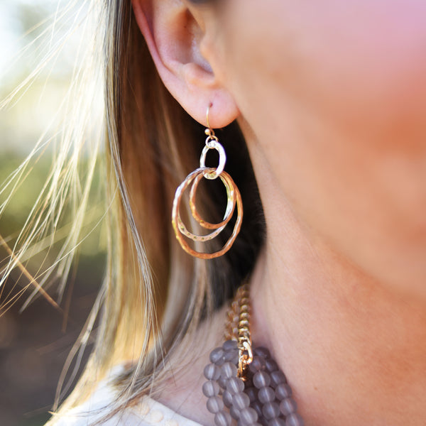 Mixed-Metal Circle Earrings