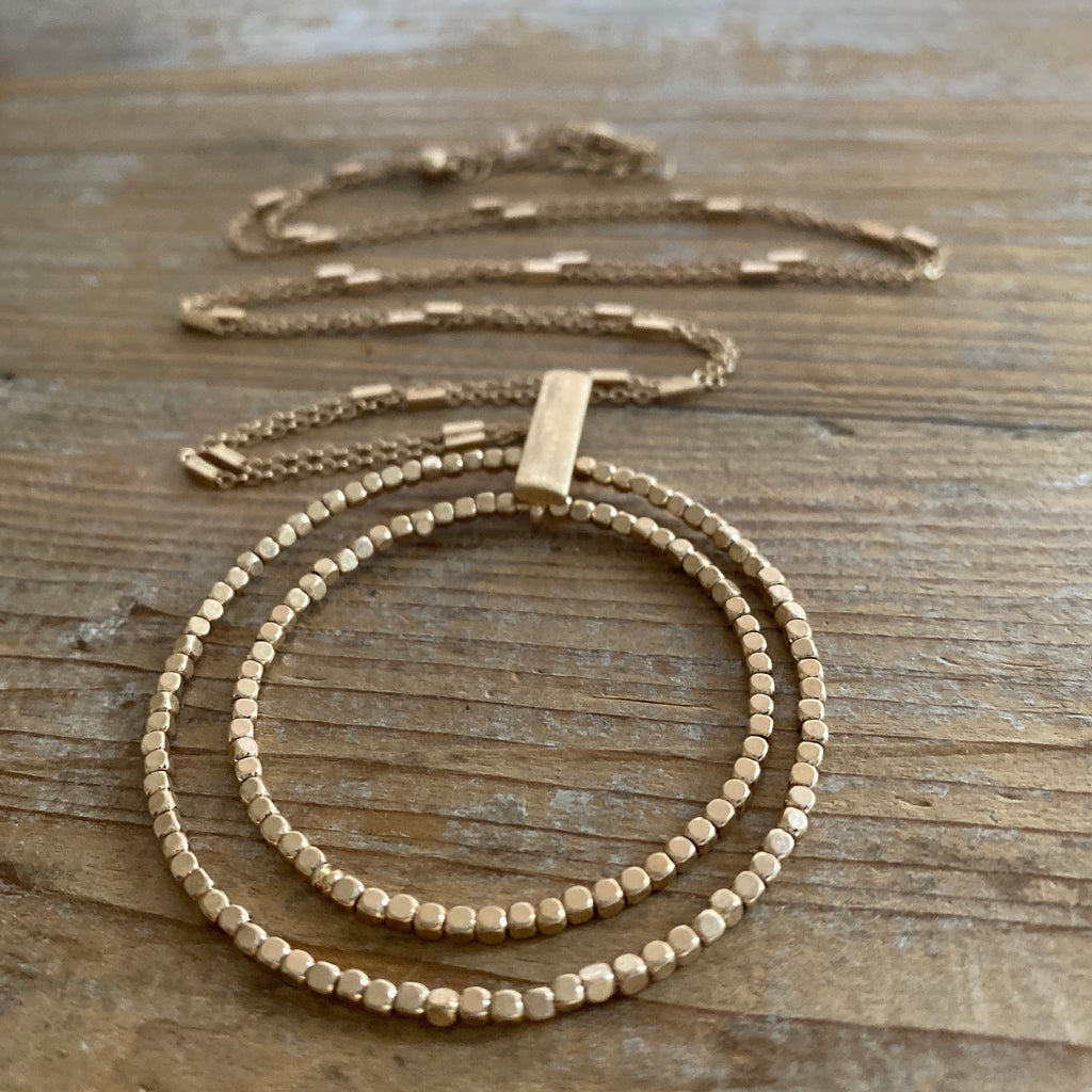Double Circle Long gold Necklace