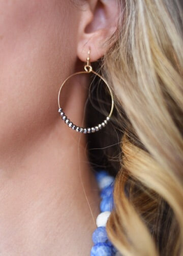 Hoop and Gemstone Earrings (3 colors)
