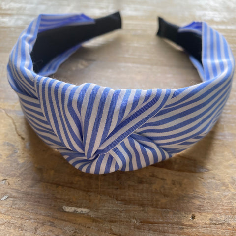 White and Blue Striped Headband