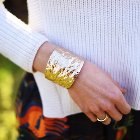 Hammered Textured Gold Cuff
