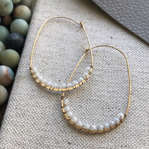 Ice quartz and gold wire hoops
