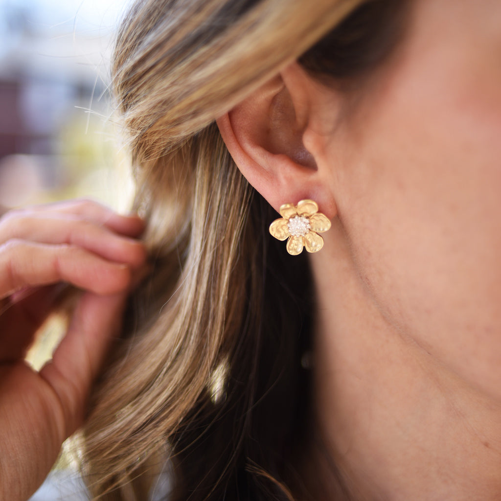 Mixed Metal Flower Studs