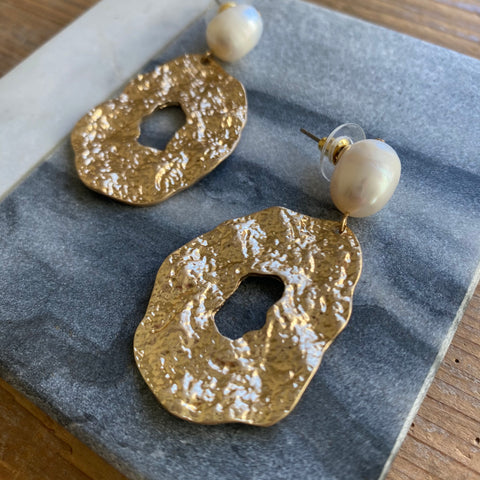 Charlotte Pearl and Textured Gold Earrings