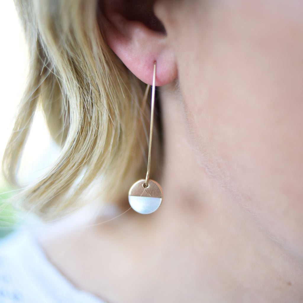 Winter White Half-Moon Drop Earrings