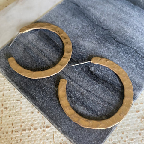 Gold Hammered Everyday Hoops