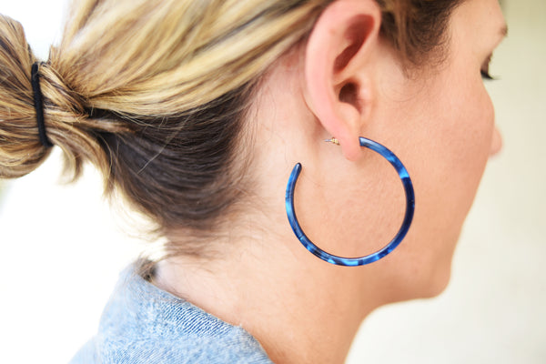 Indigo Denim and Charcoal Resin Hoops
