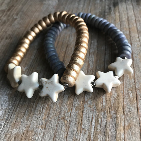 Adult White Turquoise Star Bracelet