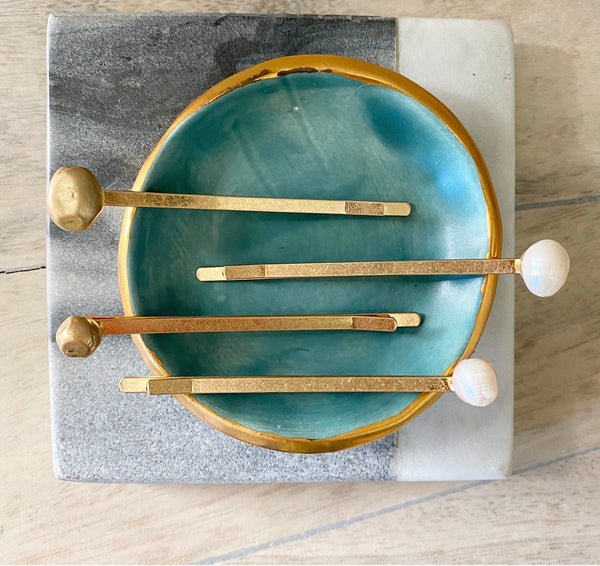 Gold and Freshwater Pearl Hairpins