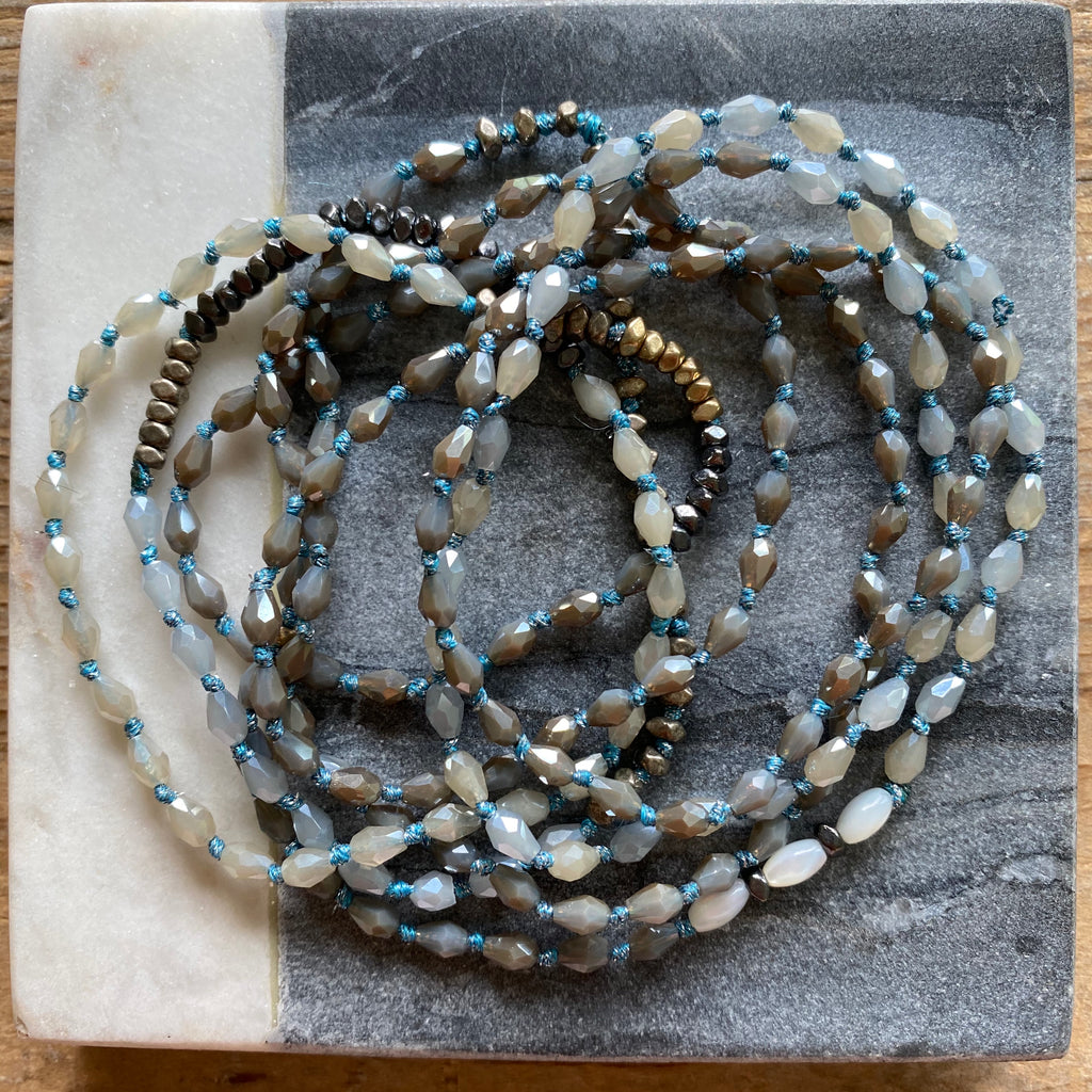 Iris Long Knotted Beaded Necklace