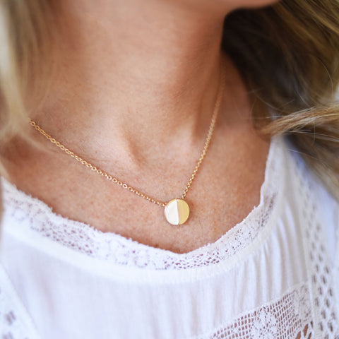 Gold and White Half Moon Necklace