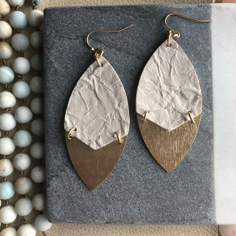 Cream Leather and Gold Earrings