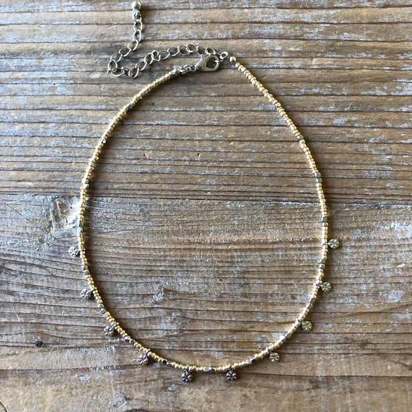 Silver Disc & Gold Bead Necklace