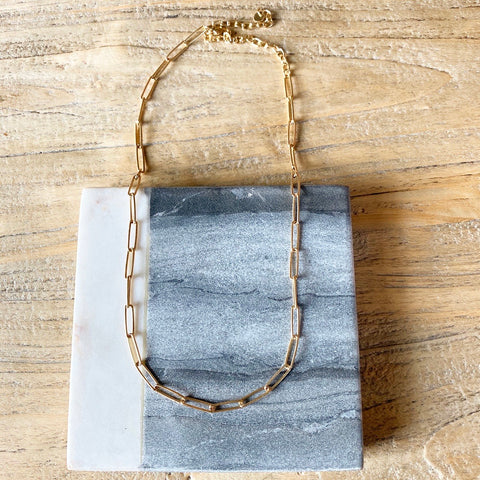 Delicate Rectangle Link Necklace