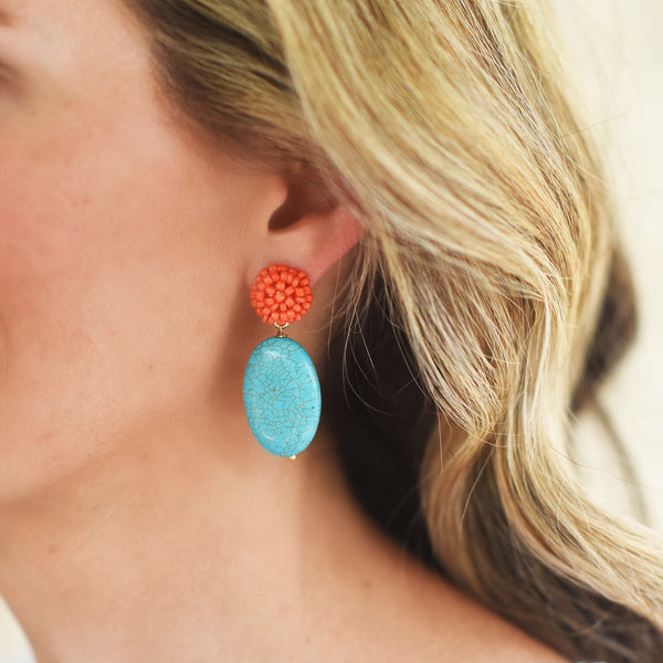 Coral and Turquoise Coco Earrings