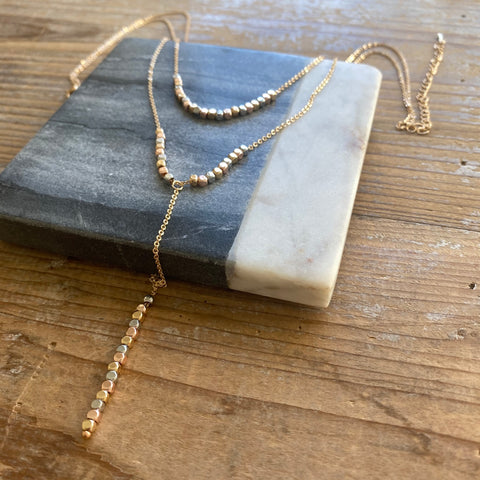 Triple Strand Gold and Mixed Metal Nuggets