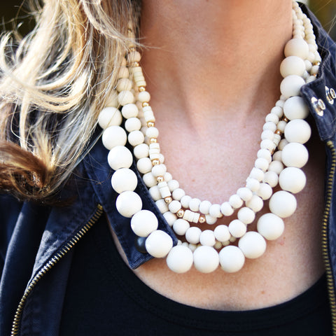 Four Layer Coconut Cream Necklace