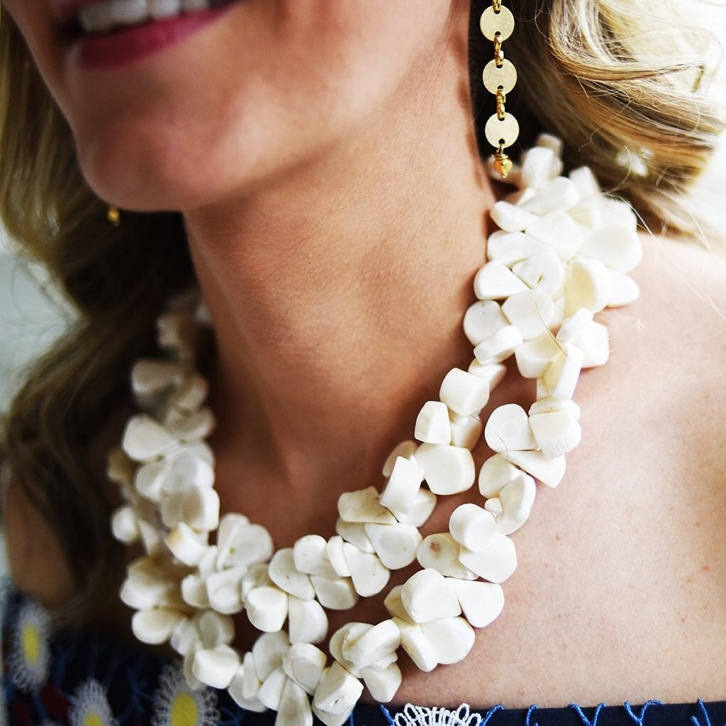 White Coral Double Strand Necklace