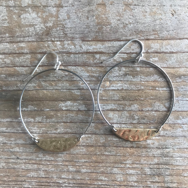 Mixed Metal Moon Earrings