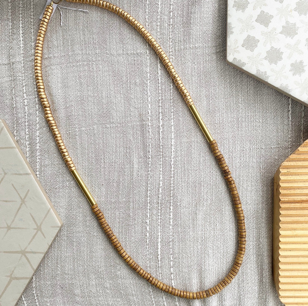Gold and Natural Bar Necklace