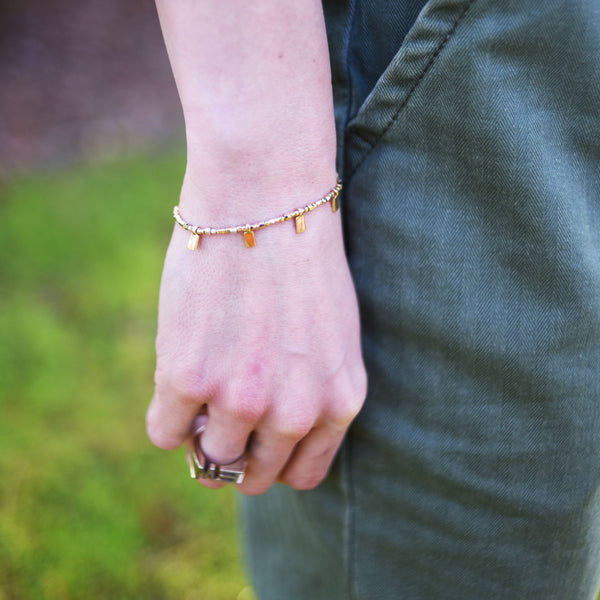 Beaded Gold Rectangle Bracelet