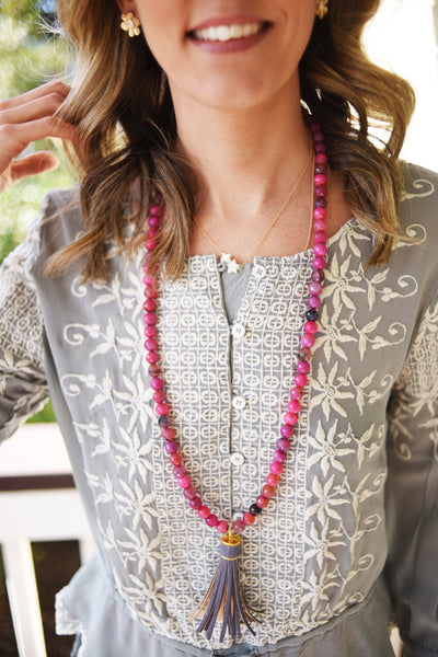 Sangria Stone and Grey Cork Tassel Necklace