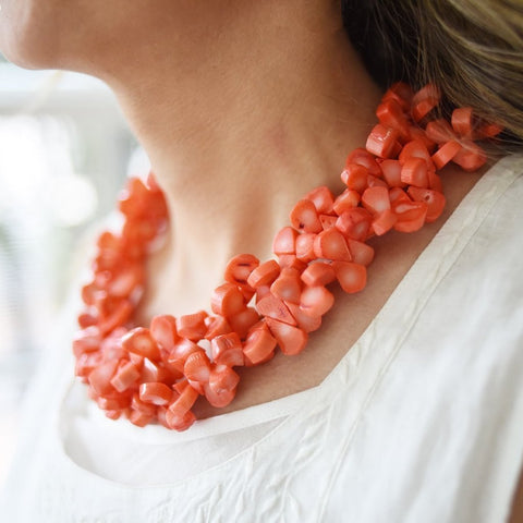 Double Strand Coral Necklace