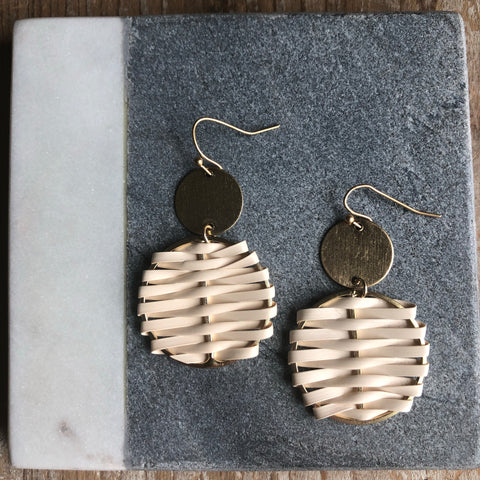 Ivory Woven Earrings