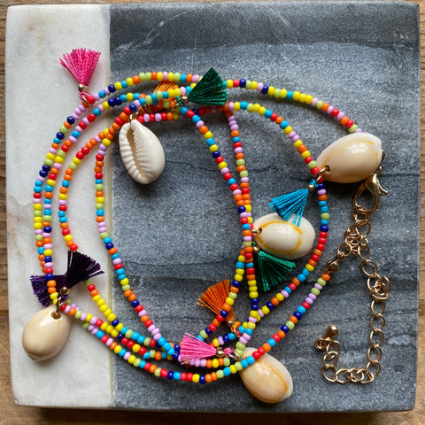 Coco Beaded Tassel and Shell Neckkace