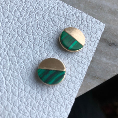 Green and Gold Half Moon Stud