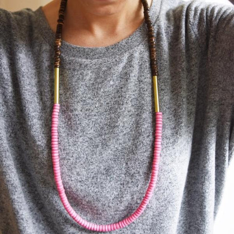 Pink Champagne and Chocolate Necklace