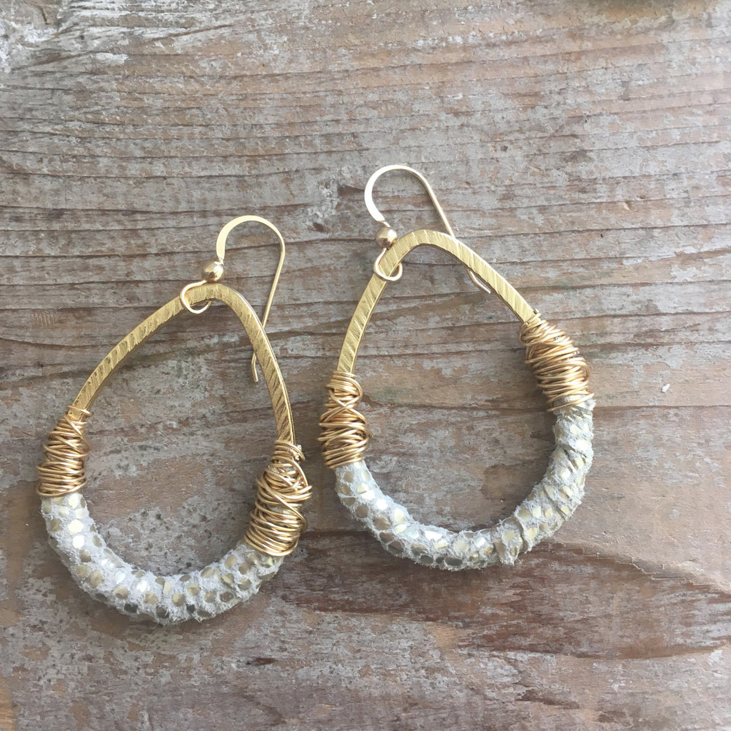 Gold and Cream Leather Earrings