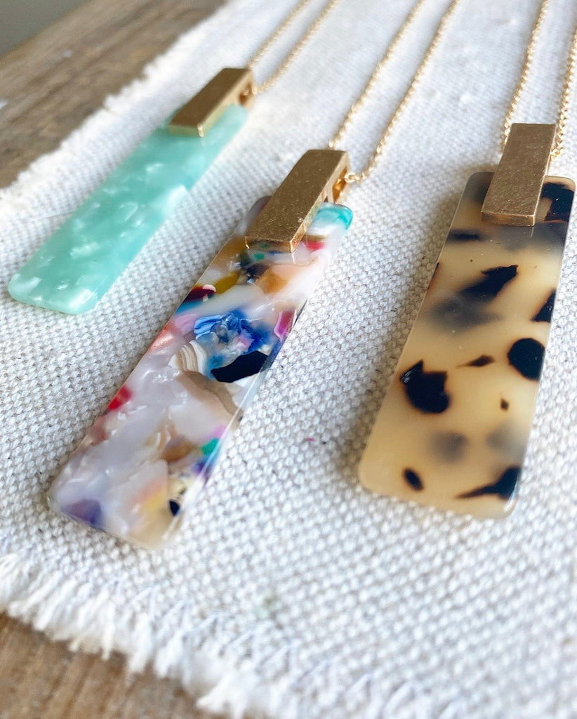 Long Resin Bar Necklaces