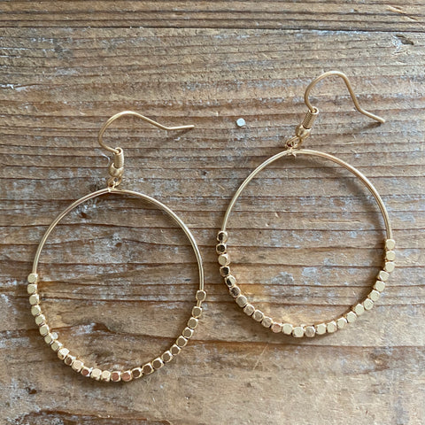 Everyday Beaded Gold Hoops